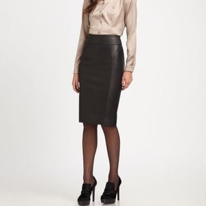 Black Real Leather Badass Pencil Skirt